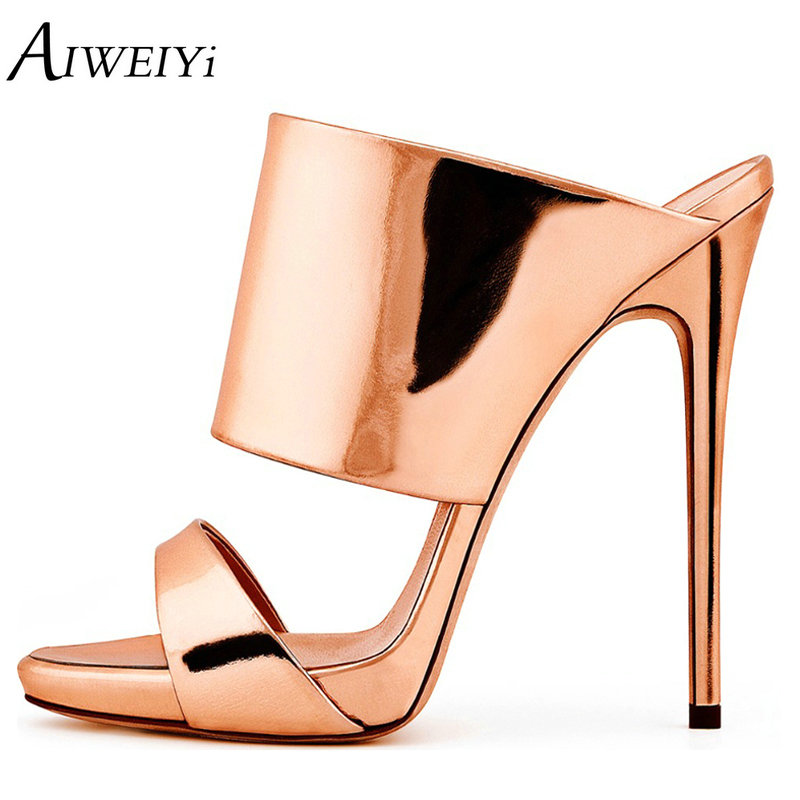AIWEIYi Summer Women High Heels Sandals Shoes Woman Party Wedding Ladies Pumps Gold Silver Slip On Stilettos Sexy Shoes aiweiyi women high heels prom wedding shoes ladies gold silver glitter rhinestone bridal shoes stiletto high heel party pumps