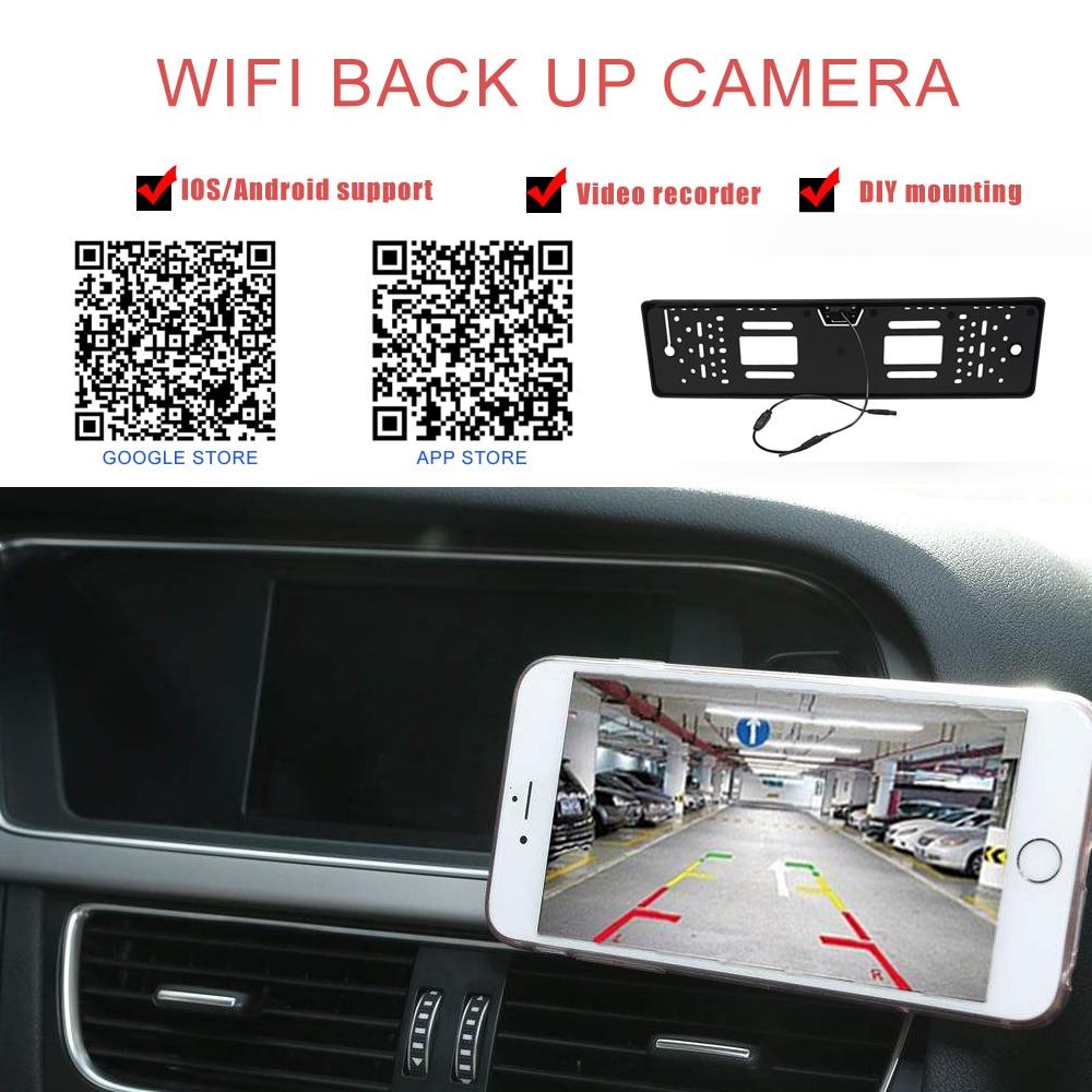 170°  WiFi Car License Plate Frame Wireless Backup Rearview Camera