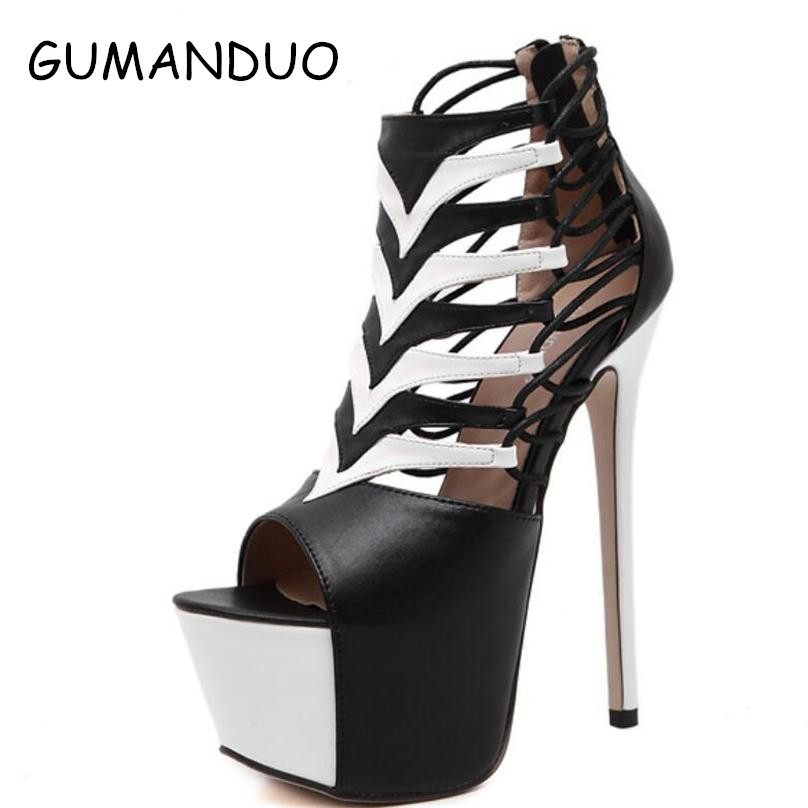 ФОТО Summer Women Platform Pumps Sexy European Cut Out Open Toe High Heels Ladies Stiletto Dress Wedding Party Club Wear Shoes Woman