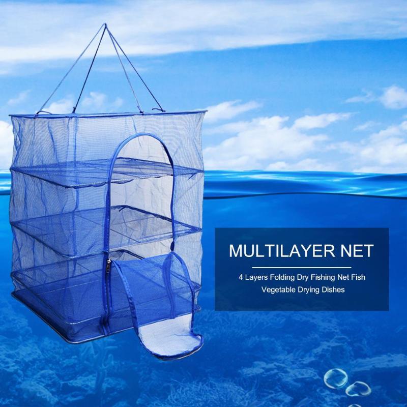 Foldable 4 Layers Fish Net Red Drying Rack Folding Mesh Hanging Vegetable Dishes Dryer Hanger Suspension Fishing Net