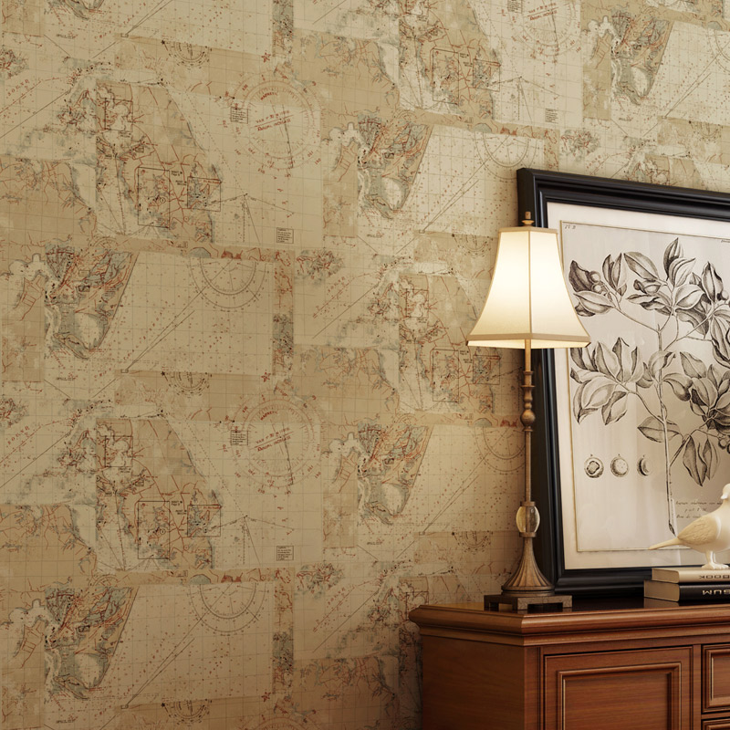 American vintage nautical world map wallpaper study for Wallpaper home vintage