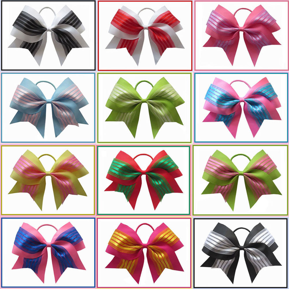 12 pcs Hair Bows for Girls and Young with Colorful Boutique Hair Accessories 7 Cheer Leader Bow Elastic Value Pack