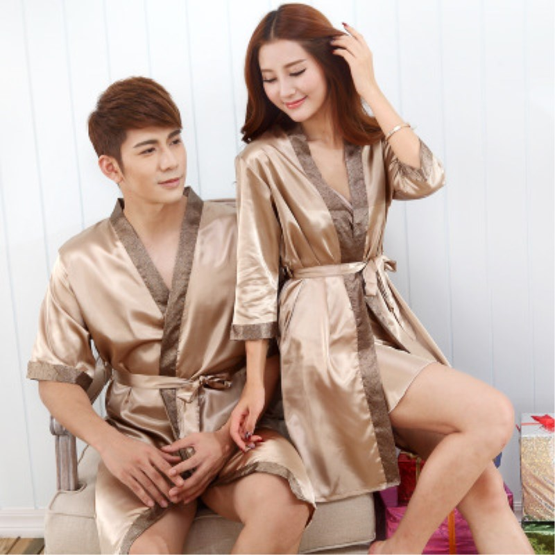 dce0138f16 Detail Feedback Questions about Summer Satin Silk Couple Robes Men and  Women Faux Silk Short Sleeve Sexy Thin Bathrobe Hotel Bath Robe for Couple  on ...