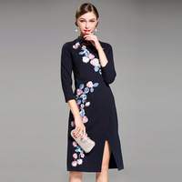New European Elegant Embroidery Chinese Style Slim Women Dress High Quality 2017 Autumn Mandarin Collar Brief