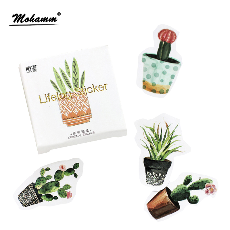 45Pcs/box Creative Potted Plants Paper Stickers Flakes Vintage Romantic For Diary Decoration Diy Scrapbooking Stationery Sticker 45pcs box cute animal crystal ball mini paper decoration stickers diy diary scrapbooking seal sticker stationery school supplies