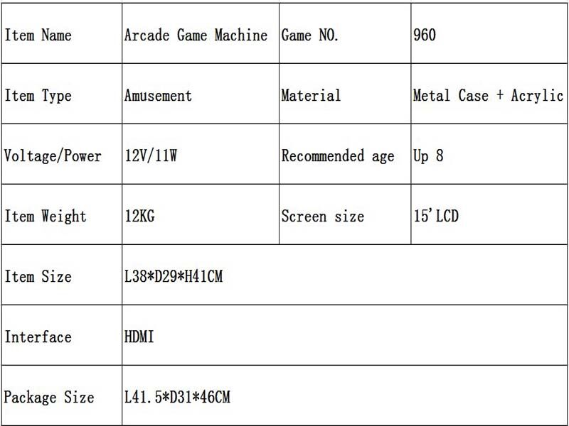 metal Case Family Mini Arcade game console 1 player Arcade Game Machine with 15 inch LCD 960/1388 in 1 games board 12