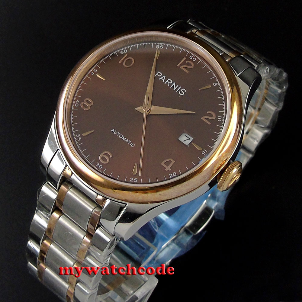 38mm Parnis brown dial date Sapphire Glass miyota Automatic mens Watch P595 38mm parnis golden dial sapphire glass miyota automatic mens watch