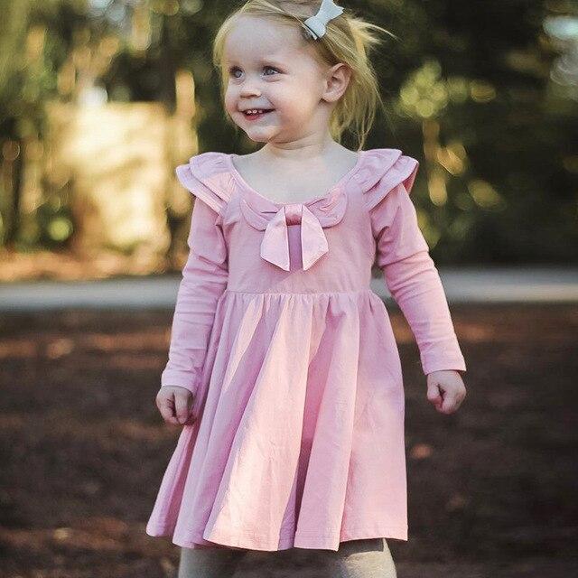 6e9b2dd1d Toddler Girls Winter Dress Pink Bow Puff Long Sleeve Princess Casual ...