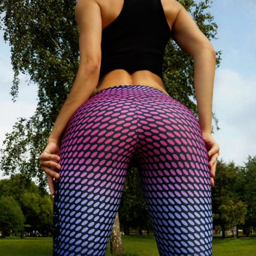 <font><b>Women</b></font> New Printed Polka-dot <font><b>Yoga</b></font> <font><b>Pants</b></font> <font><b>High</b></font> <font><b>Waist</b></font> Sports <font><b>Pants</b></font> <font><b>Fitness</b></font> Running <font><b>Sexy</b></font> Push Up Gym Wear Elastic Slim <font><b>Leggings</b></font> image
