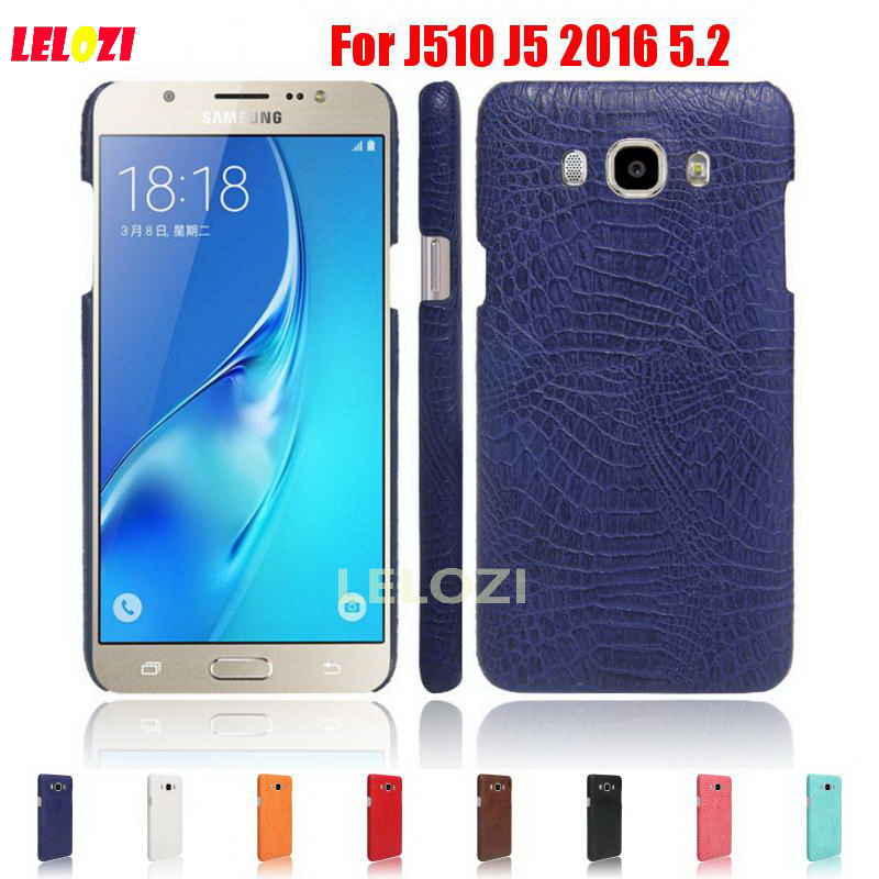 LELOZI Crocodile Snake Pattern Hard PC PU Leather Phone Etui Coque Case For Samsung Galaxy J510 J5 2016 5.2 J 510 SM-J5108 Duos