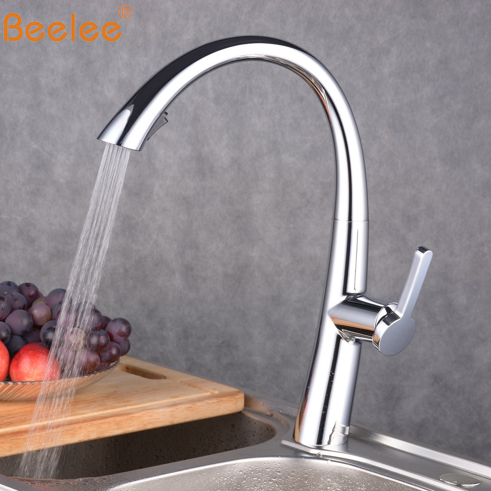 Beelee High Quality Chrome Deck Mounted Kitchen Pull Out Faucet Swivel Mixer Taps Faucet BL1751Beelee High Quality Chrome Deck Mounted Kitchen Pull Out Faucet Swivel Mixer Taps Faucet BL1751