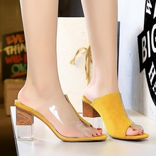 Liren 2019 Summer Fashion Sexy Lady Party Sandals Fish Mouth Open Toe Transparent Square Heels  Shoes