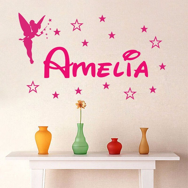 Custom Personalized Name Magic Girl Tinkerbell wall stickers lettering home  decoration girl bedroom vinyl wall decals