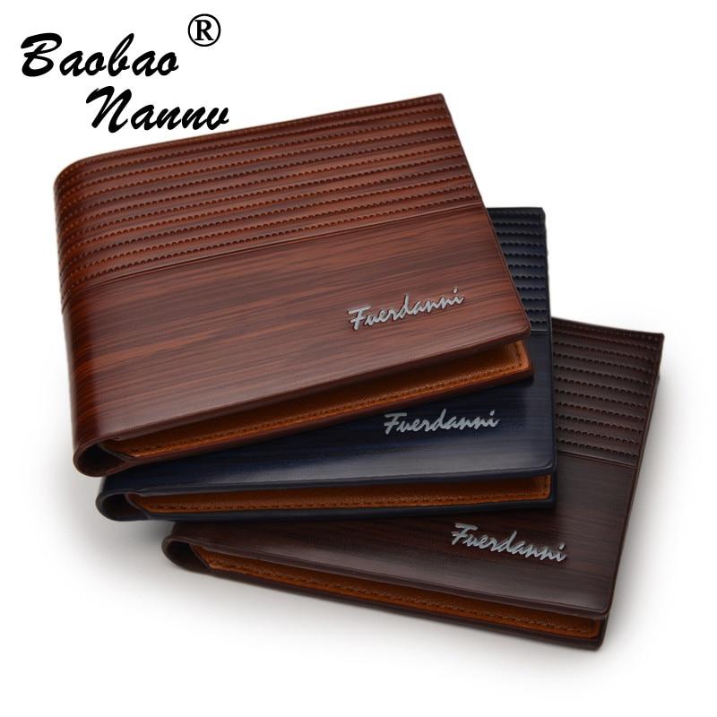 2019 Men Leather Brand Luxury PU Leather Wallet Vintage Minimalist Short Slim Male Purses Money Clip Credit Card Solid Pocket