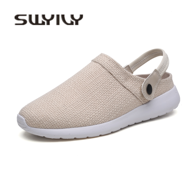 SWYIVY Mens Sandals Linen Brathable Autumn New 2018 Male Toe Cover Half Slippers Beach Casual Shoes Comfortable Mens Sandals