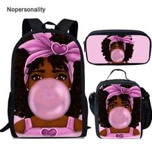 Nopersonality 3 sztuk/zestaw czarny Afro dziewczyny torba z nadrukiem w szkole stylowe muzułmańskie dziewczyny Bagpack dla dzieci dzieci plecak Mochila