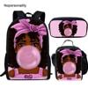 Nopersonality 3pcs/set Black Afro Girls Print Backpack in School Stylish Muslim Girls Bagpack for Children Kids Rucksack Mochila