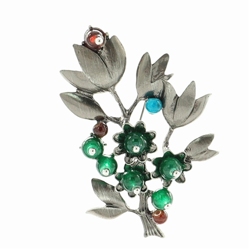 Vintage Brooches Crystal Natural Stone Pins Women Green Enamel Flower Scarf Brooch Clothes Buckles Men Jewelry