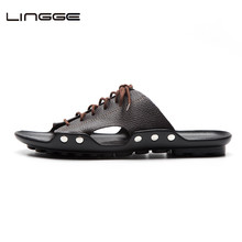 LINGGE/Новинка; мужские тапочки; дышащие летние мужские пляжные тапочки; Мужская обувь из яловичного спилка