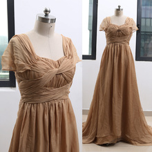 7590cc019cda MACloth Gold Sweep Train Square Neck Floor-Length Long Chiffon Bridesmaid  Dresses Dress L 264583 Clearance
