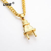 UNB 2017 New Gold-color Electrical Plug Shape Pendants Necklaces Men Women Hip Hop Charm Chains Iced Out Bling Jewelry Gifts 2