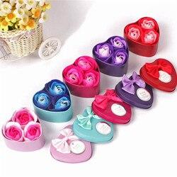 3 piezas corazón perfumado cuerpo de baño pétalo Rosa flor jabón boda decoración regalo mejor