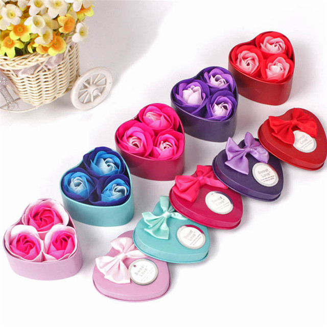 3 unids piezas corazón perfumado baño cuerpo pétalo Rosa flor jabón boda decoración regalo mejor