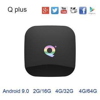 2019 ホット Q プラスアンドロイドテレビボックス 8.1 9 。 0 OS USB3.0 WIFI 4G32G 64 グラム H6 クアッドコア Cortex-A53 HD mi 2.0 6 18K bluetooth VS X96 mi ni mi ボックス