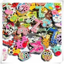 20pcs Wooden Buttons for crafts scrapbooking accessories decorative wooden cartoon animals buttons free shipping