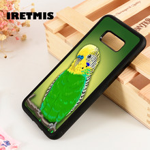 Iretmis S3 S4 S5 phone case cover for Samsung Galaxy S6 S7 S8 S9 edge plus Note 3 4 5 8 9 Green Parakeet Budgie Bird Pet(China)