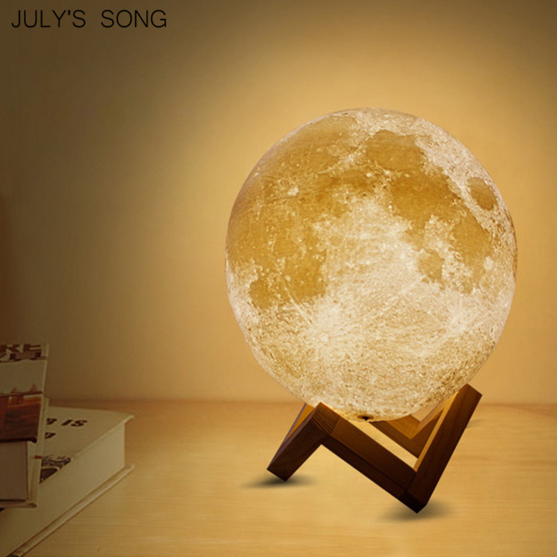 PLA 2/3/7/16 Colors 3D LED Print Moon Night Light Lamp LED Bedside Moon Light Children's Night Light Decoration Home Desk Gift tanbaby 15cm 3d print magnetic levitation moon lamp magnetic floating led night light auto rotatable decorative moon light