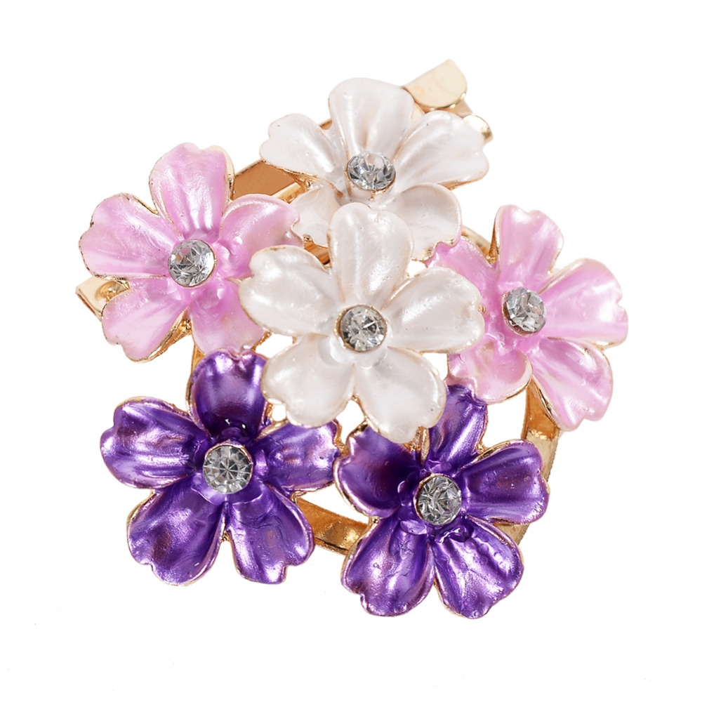 New Fashion Pretty Colorful Hollow Three/ Six / Seven Flowers Rhinestone Crystal Brooches Wedding Bridal Pins Jewelry