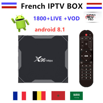 Best French X96 MAX android 8.1 TV box with 1 year IPTV francais Bulgium Arabic Europe Morocco Africa IP TV smart tv m3u box