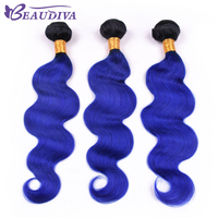 BEAU DIVA Remy Hair 10 inch 26 inch Brazilian TB/BLUE Body Wave Hair Weaving 100% Human Hair Weave Bundle Free Shipping