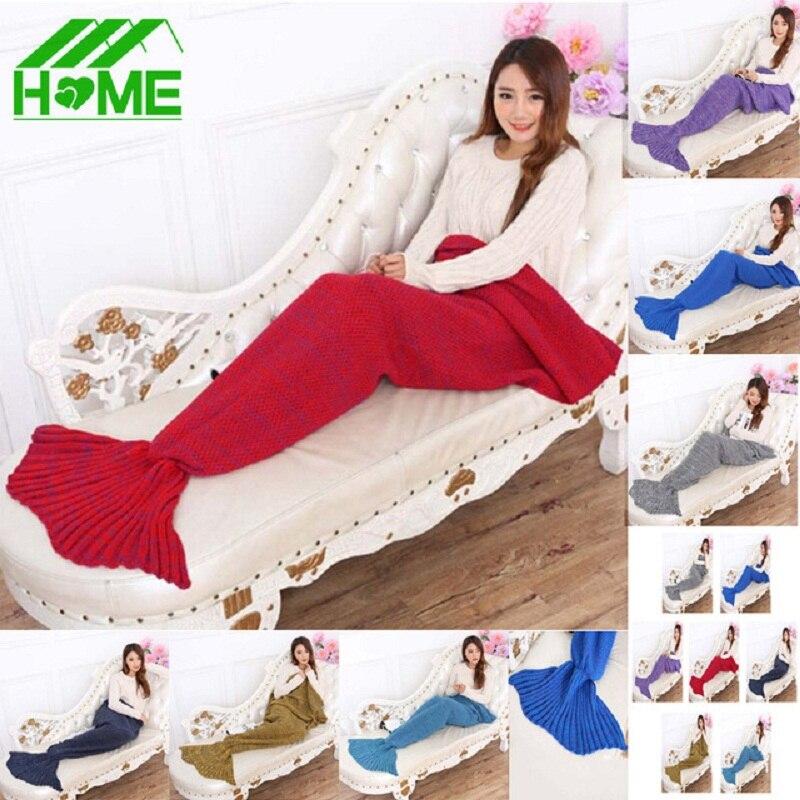 195x95cm Mermaid Blanket Yarn Knitted Tail Super Soft Sleeping Bed Throw Handmade Crochet Anti-Pilling Portable Bag Blankets