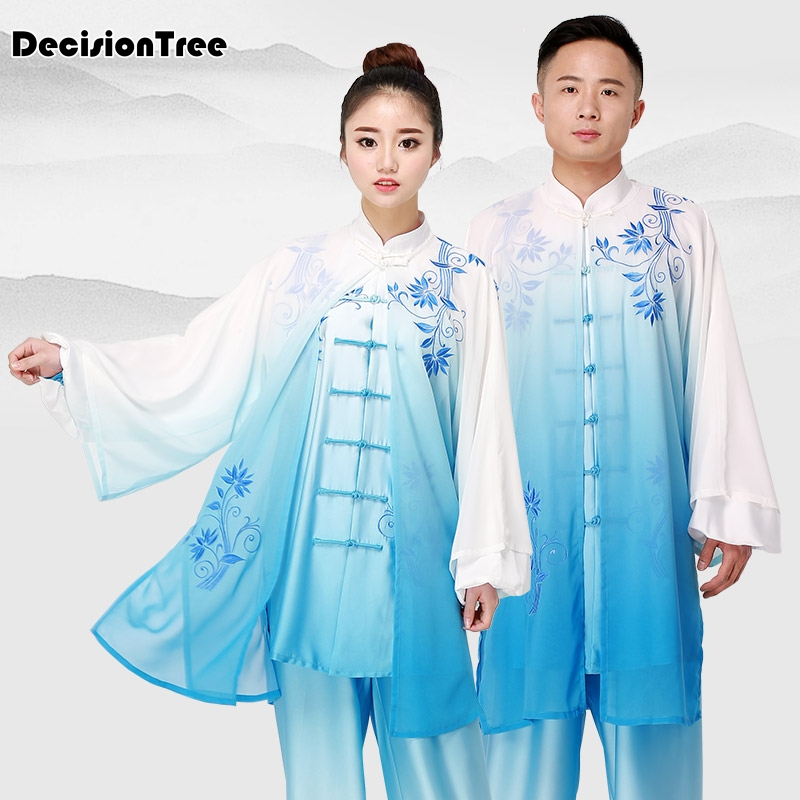 2019 Martial Arts Set Chinese Wushu Uniform Kungfu Clothes Martial Arts Suit Male Female Embroidered Women Men Taiji Suit