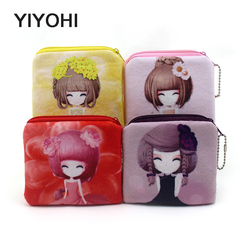 10cm*10cm Cute Style Novelty Beautiful Gril Zipper Plush Square Coin Bag Purse Kawaii Children Storage Bag Women Wallets купить