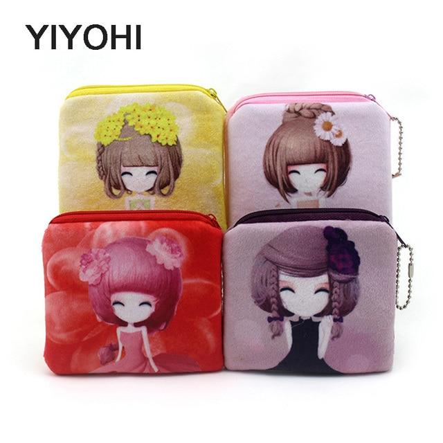 10cm*10cm Cute Style Novelty Beautiful Gril Zipper Plush Square Coin Bag Purse Kawaii Children Storage Bag Women Wallets