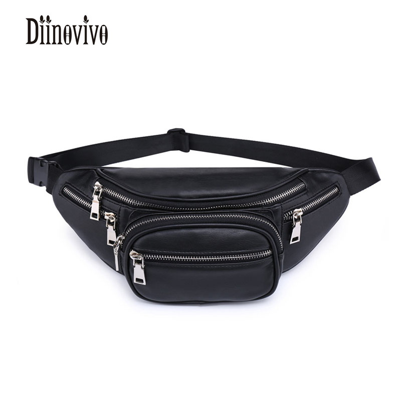 DIINOVIVO Classic Black PU Leather Waist Packs Solid Fashion Womens Waist Bag Vintage Design Bags Famous Brand Belt Bags DNV0232 black pleated design drawstring waist skorts