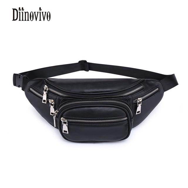 DIINOVIVO Classic Black PU Leather Waist Packs Solid Fashion Womens Waist Bag Vintage Design Bags Famous Brand Belt Bags DNV0232