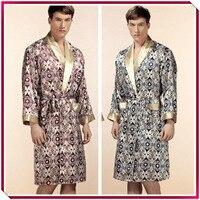 Высший сорт благородный 100% чистый шелковый халат мужской шелковый халат ночная рубашка лето осень длинный рукав ночная рубашка мужской Хал