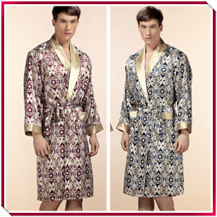 Top Grade Noble 100% Pure Silk Robe mens silk bathrobe Nightgown Summer Autumn Long Sleeve Nightwear Male