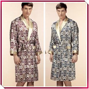 Top Grade Noble 100% Pure Silk Robe Mens Silk Bathrobe Nightgown Summer Autumn Long Sleeve Nightwear Male Bathrobe
