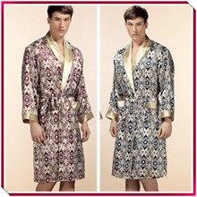 Top Grade Noble 100% Pure Silk Robe mens silk bathrobe Nightgown Summer Autumn Long Sleeve Nightwear Male
