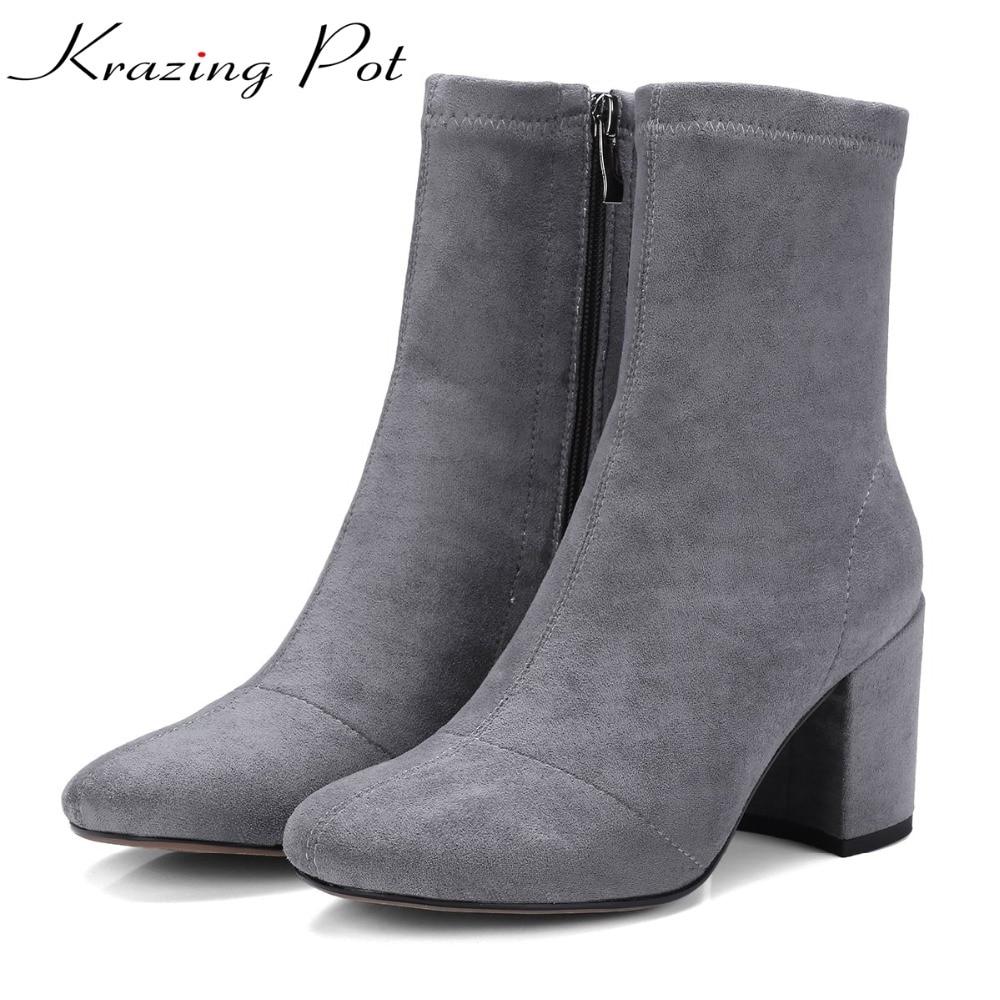 Krazing Pot new arrival superstar stretch folk thick heels square toe zipper chelsea boots winter streetwear fashion boots L17 т а кислинская игры заводилки познавательное развитие дошкольников
