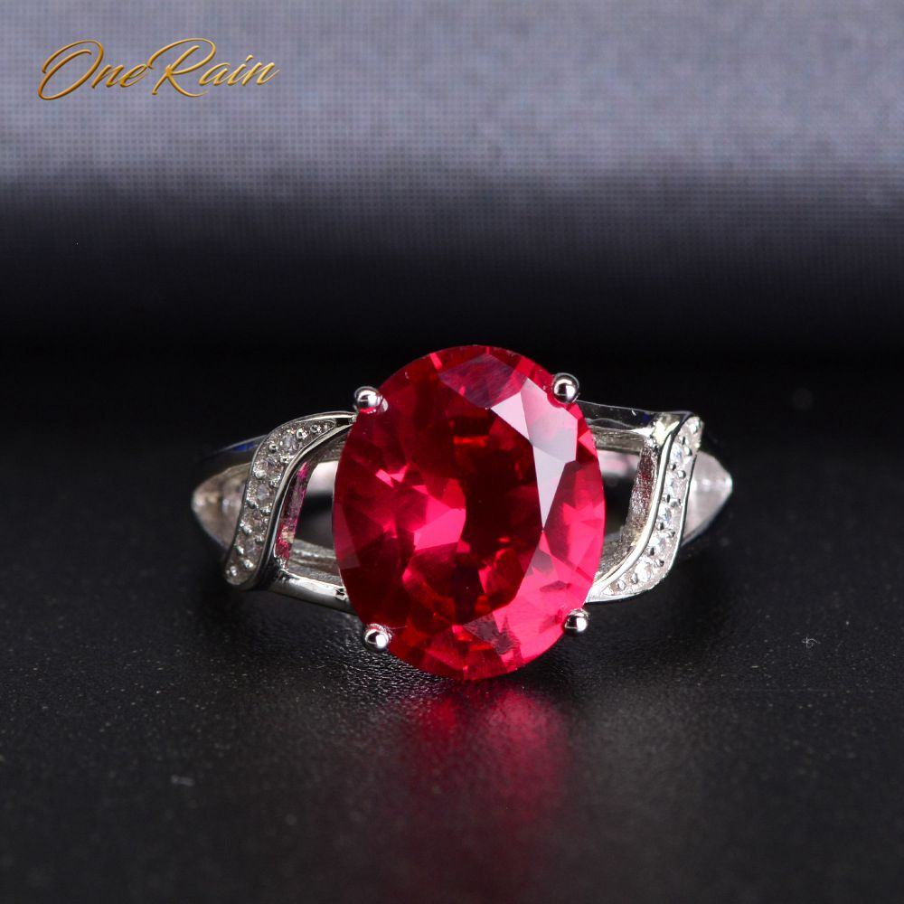 OneRain Korean 100% 925 Sterling Silver Oval Ruby Gemstone Wedding Engagement Opening Adjustable Crystal Ring Jewelry Wholesale