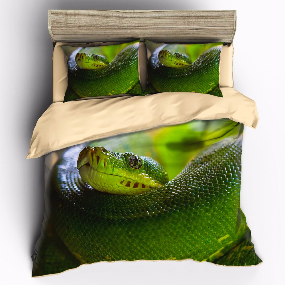 AHSNME High Definition Photo Print Picture Terrifying Green Boa Customizable Bedding Sets Duvet Cover pillowcase setAHSNME High Definition Photo Print Picture Terrifying Green Boa Customizable Bedding Sets Duvet Cover pillowcase set