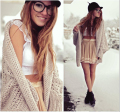 2017 new European autumn bat sleeve knit cardigan sweater female wild loose sweater coat