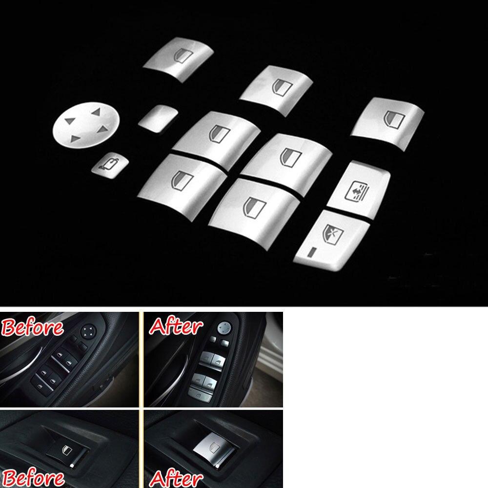 12 pièces De Voiture ABS lève-vitre Bouton Garniture Paillette Décoration Pour BMW X1 X3 X4 X5 X6 1 2 3 4 5 6 7 Série