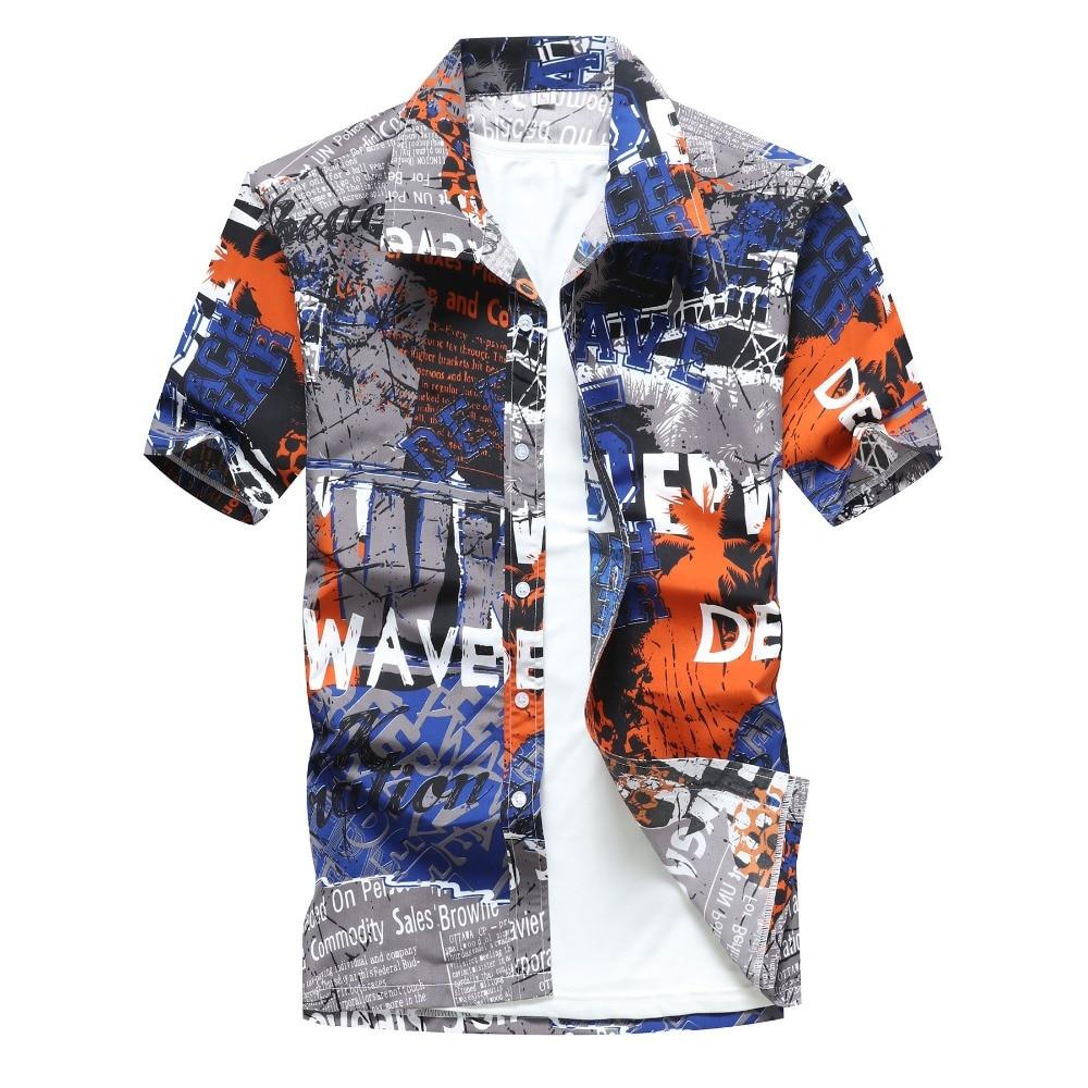 e5e1af5c8ff6 Mens Hawaiian Shirt Male Casual camisa masculina Printed Beach Shirts Short  Sleeve brand clothing Free Shipping Asian Size 5XL